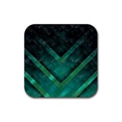 Green Background Wallpaper Motif Design Rubber Coaster (square)