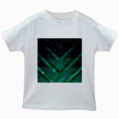 Green Background Wallpaper Motif Design Kids White T Shirts
