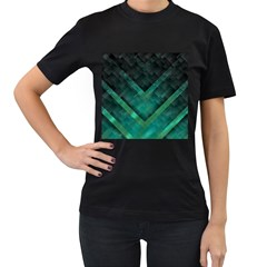 Green Background Wallpaper Motif Design Women s T Shirt (black) (two Sided)