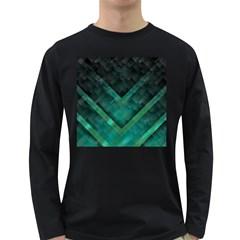 Green Background Wallpaper Motif Design Long Sleeve Dark T Shirts