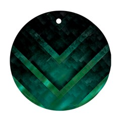 Green Background Wallpaper Motif Design Round Ornament (two Sides)