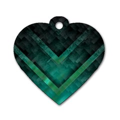 Green Background Wallpaper Motif Design Dog Tag Heart (one Side)