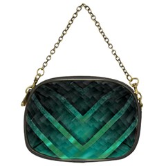 Green Background Wallpaper Motif Design Chain Purses (Two Sides)