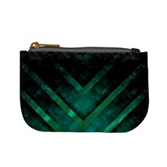 Green Background Wallpaper Motif Design Mini Coin Purses