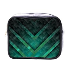Green Background Wallpaper Motif Design Mini Toiletries Bags