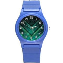 Green Background Wallpaper Motif Design Round Plastic Sport Watch (s)
