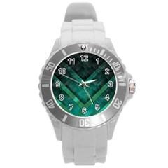 Green Background Wallpaper Motif Design Round Plastic Sport Watch (l)