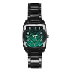 Green Background Wallpaper Motif Design Stainless Steel Barrel Watch