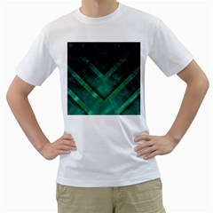 Green Background Wallpaper Motif Design Men s T Shirt (white)