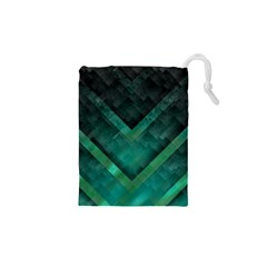 Green Background Wallpaper Motif Design Drawstring Pouches (xs)