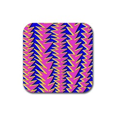 Triangle Pink Blue Rubber Square Coaster (4 pack)
