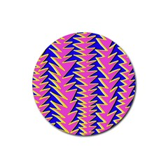 Triangle Pink Blue Rubber Coaster (Round)