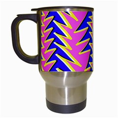 Triangle Pink Blue Travel Mugs (white)