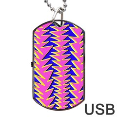 Triangle Pink Blue Dog Tag Usb Flash (two Sides)