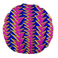 Triangle Pink Blue Large 18  Premium Round Cushions