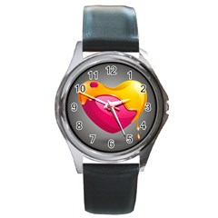 Valentine Heart Having Transparency Effect Pink Yellow Round Metal Watch