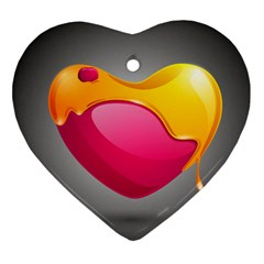 Valentine Heart Having Transparency Effect Pink Yellow Ornament (heart)
