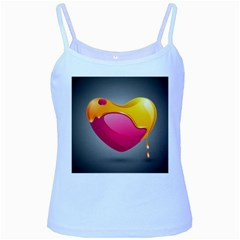 Valentine Heart Having Transparency Effect Pink Yellow Baby Blue Spaghetti Tank