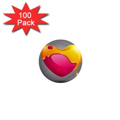 Valentine Heart Having Transparency Effect Pink Yellow 1  Mini Magnets (100 pack)