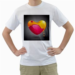 Valentine Heart Having Transparency Effect Pink Yellow Men s T Shirt (white) (two Sided)