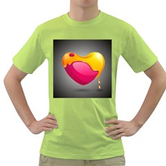 Valentine Heart Having Transparency Effect Pink Yellow Green T Shirt