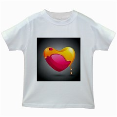 Valentine Heart Having Transparency Effect Pink Yellow Kids White T Shirts