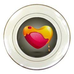 Valentine Heart Having Transparency Effect Pink Yellow Porcelain Plates
