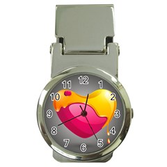 Valentine Heart Having Transparency Effect Pink Yellow Money Clip Watches