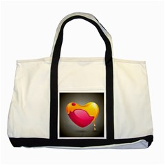 Valentine Heart Having Transparency Effect Pink Yellow Two Tone Tote Bag