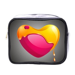 Valentine Heart Having Transparency Effect Pink Yellow Mini Toiletries Bags
