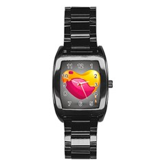 Valentine Heart Having Transparency Effect Pink Yellow Stainless Steel Barrel Watch