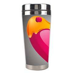 Valentine Heart Having Transparency Effect Pink Yellow Stainless Steel Travel Tumblers