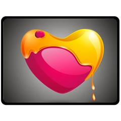 Valentine Heart Having Transparency Effect Pink Yellow Double Sided Fleece Blanket (Large)