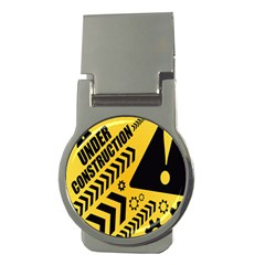 Under Construction Line Maintenen Progres Yellow Sign Money Clips (round)
