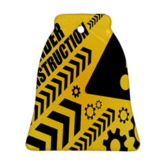 Under Construction Line Maintenen Progres Yellow Sign Bell Ornament (Two Sides)
