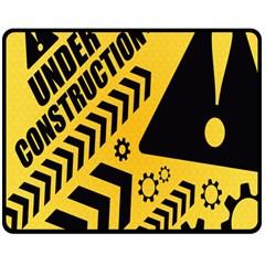 Under Construction Line Maintenen Progres Yellow Sign Double Sided Fleece Blanket (medium)