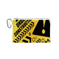 Under Construction Line Maintenen Progres Yellow Sign Canvas Cosmetic Bag (S)