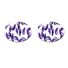 Vegetables Eggplant Purple Cufflinks (Oval)