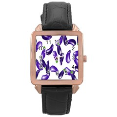 Vegetables Eggplant Purple Rose Gold Leather Watch