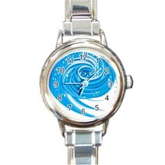 Water Round Blue Round Italian Charm Watch