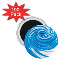 Water Round Blue 1 75  Magnets (100 Pack)