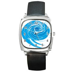 Water Round Blue Square Metal Watch