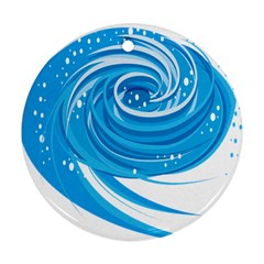 Water Round Blue Round Ornament (Two Sides)