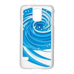 Water Round Blue Samsung Galaxy S5 Case (White)