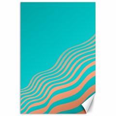 Water Waves Blue Orange Canvas 24  x 36