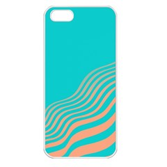 Water Waves Blue Orange Apple Iphone 5 Seamless Case (white)