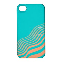 Water Waves Blue Orange Apple iPhone 4/4S Hardshell Case with Stand
