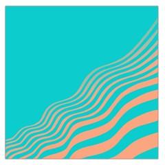 Water Waves Blue Orange Large Satin Scarf (Square)