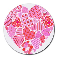 Valentines Day Pink Heart Love Round Mousepads