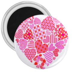 Valentines Day Pink Heart Love 3  Magnets